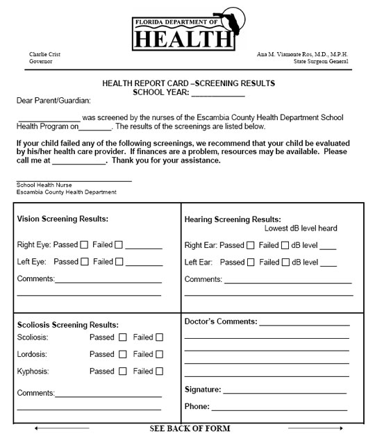 Escambia Students To Receive Health Report Cards This Week