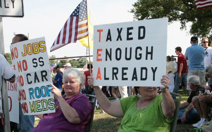 Tea Party Protesters Rally Against 'Obama Care', Taxes ...
