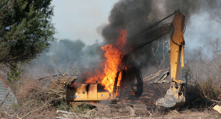 Fire Destroys Excavator With Explosion Photo