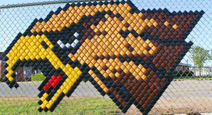 Fence artwork shows ernest ward eagles spirit