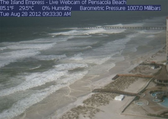 Isaac making presence known with barrier island waves for Navarre fishing pier cam