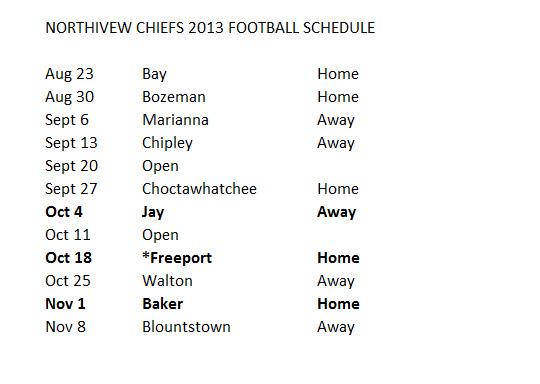 Chief Football Schedule 2013