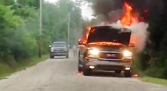 Photos: Fire Destroys Pickup Truck In Century ...