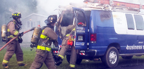 Fire Scorches Cable TV Van