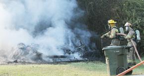 Firefighters Battle Shed Fire