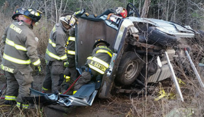 Driver Trapped After Wreck