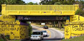 Graffiti Bridge Goes Gold For Childhood Cancer Awareness