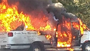 Fire Destroys Church Van In Century