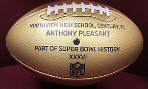 Area Schools Receive NFL Golden Footballs To Honor Local Super Bowl Players
