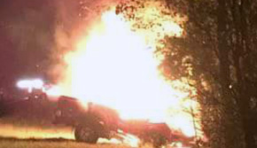 'One Injured In Fiery Crash' from the web at 'http://www.northescambia.com/wp-content/uploads/2016/02/trucki10treefront2.jpg'