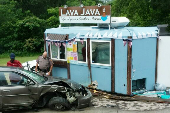 Lava Java' Coffee Shop Hit By Car In Two Vehicle Wreck