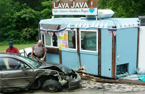 'Lava Java' Coffee Shop Hit By Car In Two Vehicle Wreck