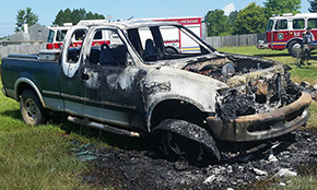 Vehicle Fire Threatens Mobile Home