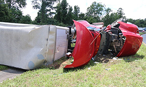 Overturned 18 Wheeler Injures One; Shuts Down Highway 29 For Seven Hours