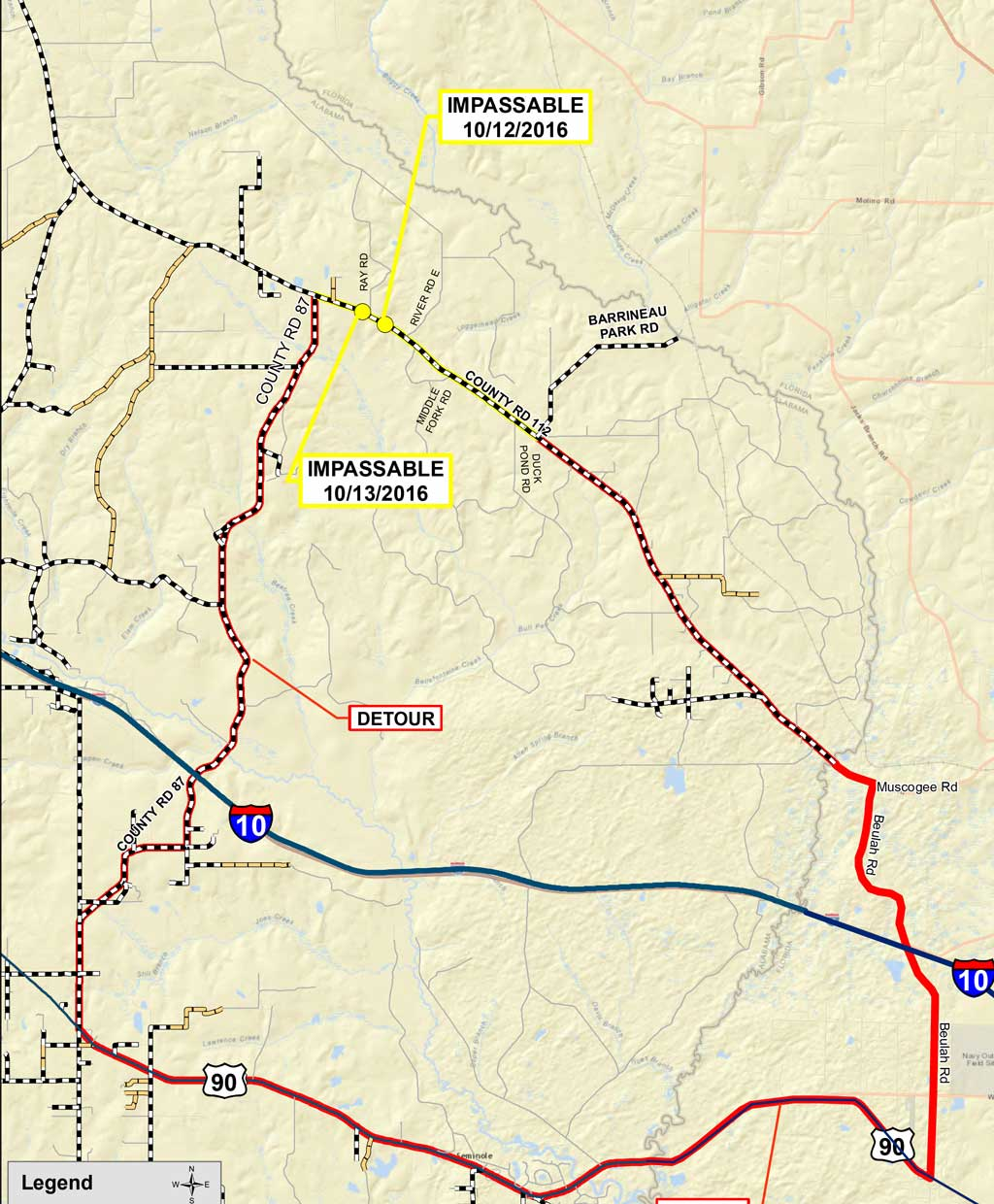 Detour Highway Muscogee Road Closed In Alabama - Alabama highway map