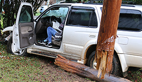Mail Carrier Slams Into Fire Hydrant, Pole Barn