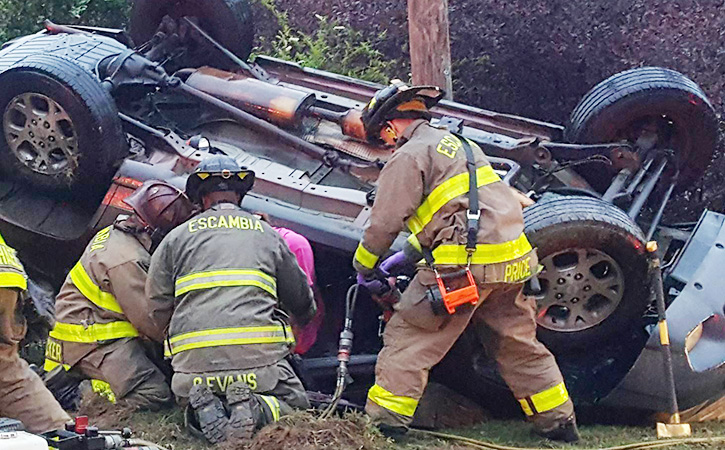Firefighters Used The Jaws Of Life To Extricate A Driver Pinned In A Single  Vehicle Rollover Crash Early Wednesday Evening In Cantonment.