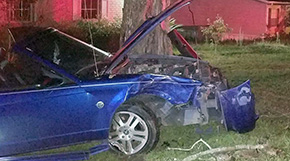 No Injuries In Early Morning Front Yard Crash