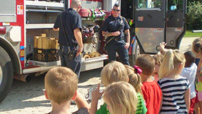 Century Fire Visits Camp Fire Learning Center