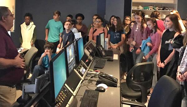 Ernest Ward Journalism Students Tour WEAR 3 TV Studio