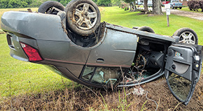 Pregnant Woman Flips Car Trying To Avoid Ducks Crossing The Road