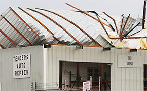 Wind Damages Auto Repair Shop Roof, Downs Tree In Atmore