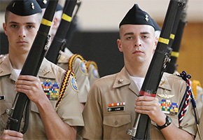 Facing A Navy Commander: NJROTC Students Undergo Inspection