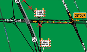 Northbound Highway 29 Ramps At Nine Mile Road To Close Through Monday
