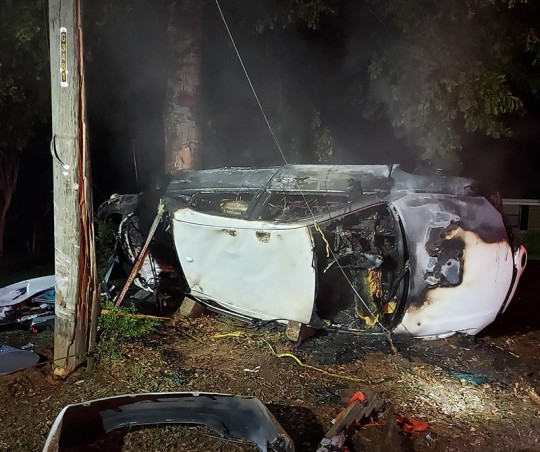 Vehicle Goes Up In Flames After Crashing Into Utility Pole