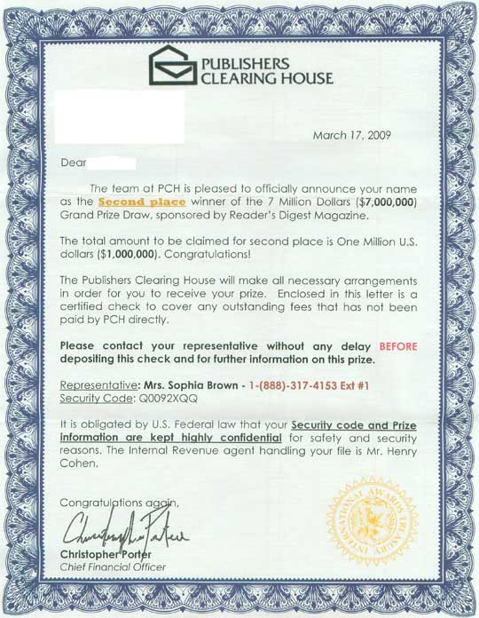 are sweepstakes real publishers clearing house warns of sweepstakes scams 7443